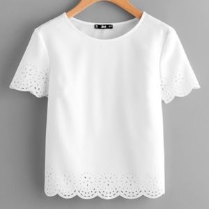 Tops - White short sleeve ruffle blouse top XS